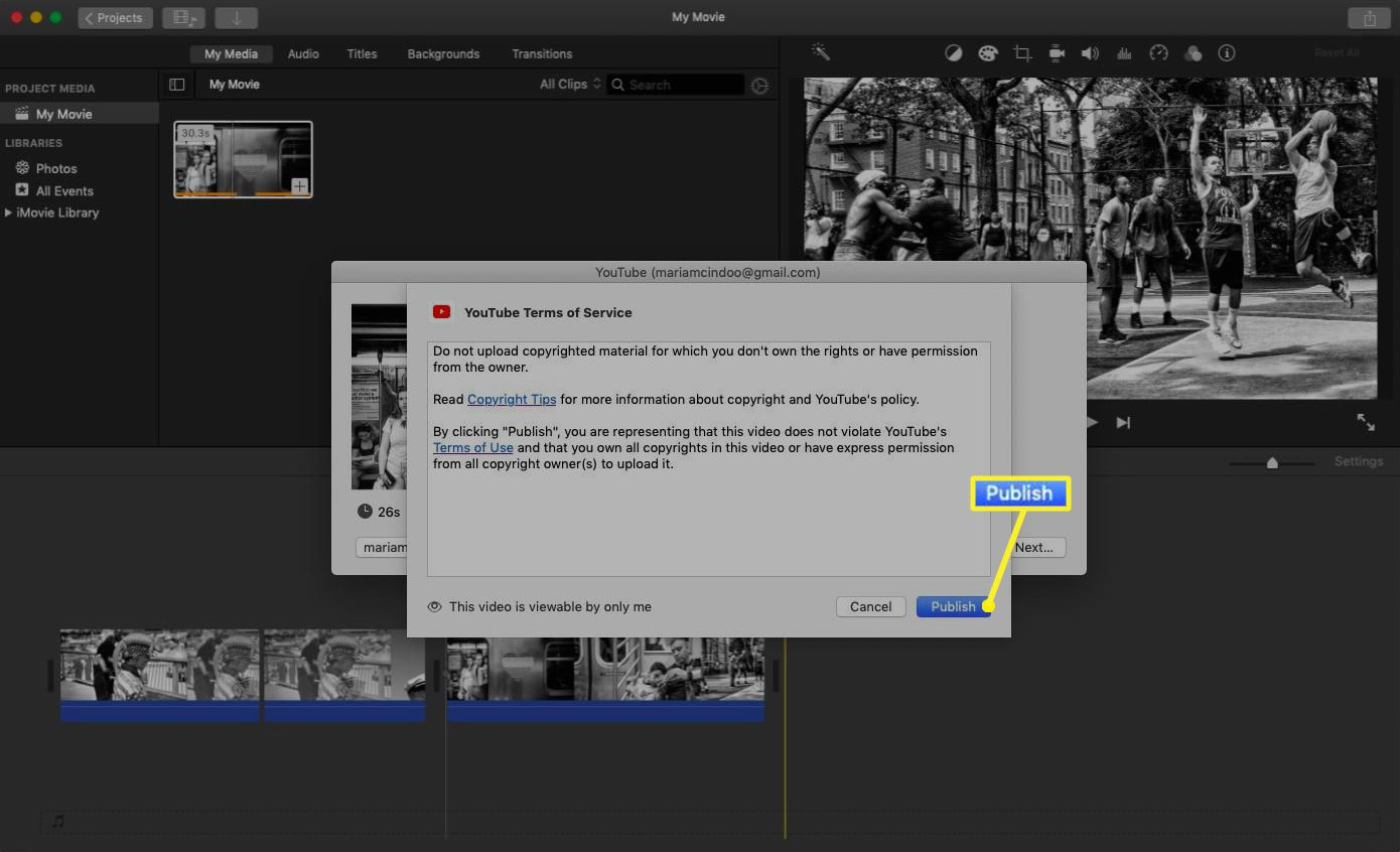 iMovie with the YouTube upload notification and the Publish button highlighted.