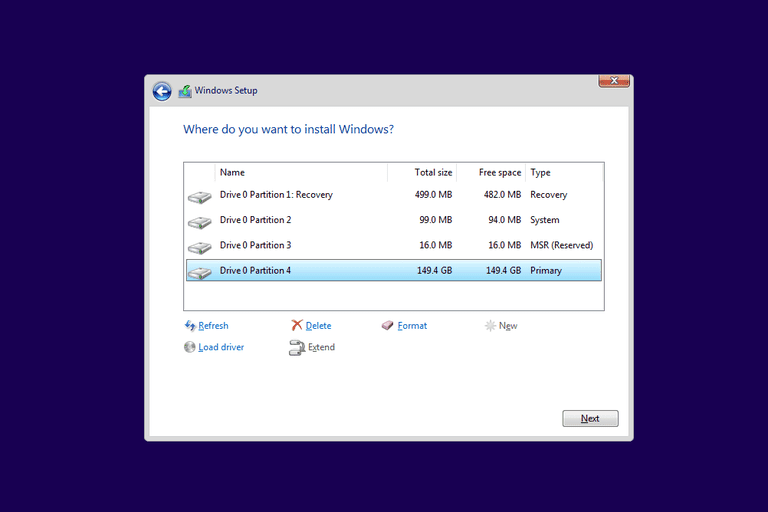 Screenshot showing how to format C from a Windows 10 setup disc