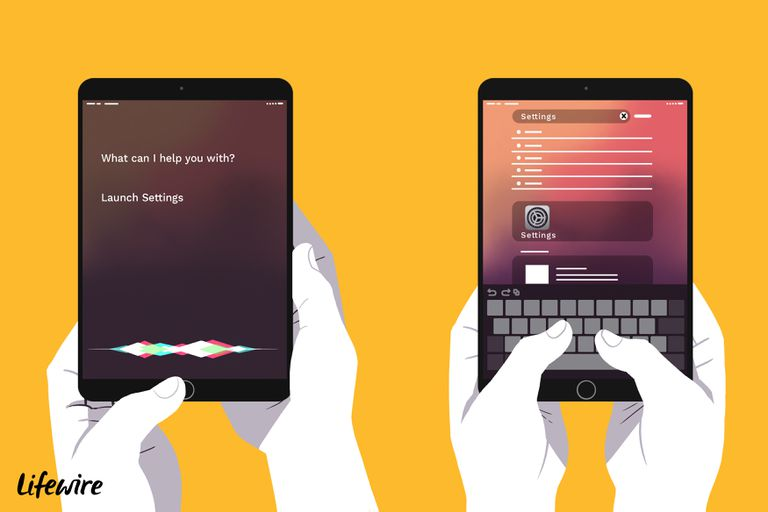Illustration of hands holding two iPads, one that is asking Siri to launch settings, the other typing in Settings into the search bar