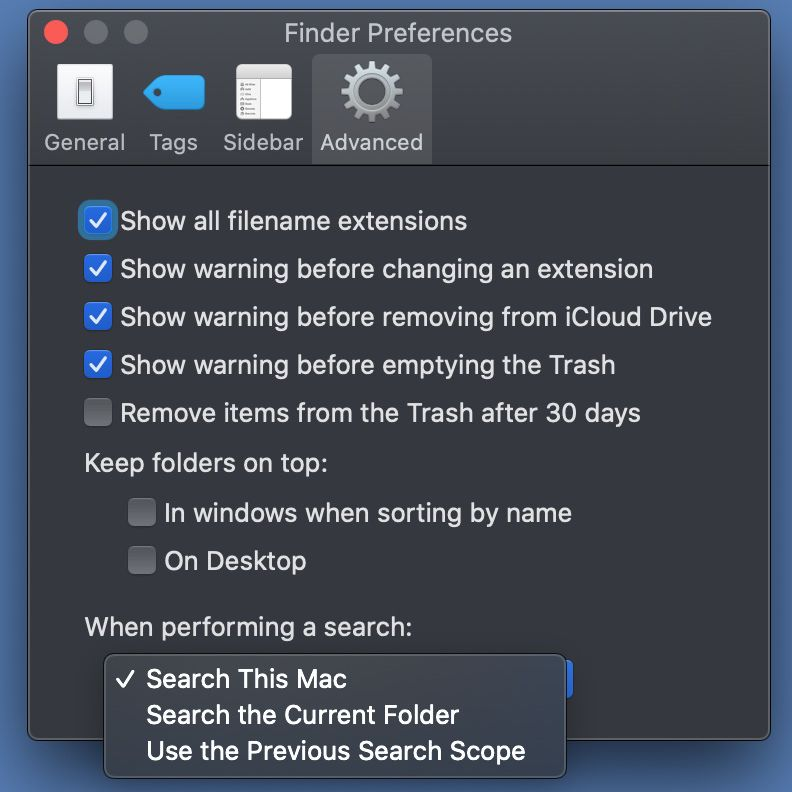 Set the default search location for Finder