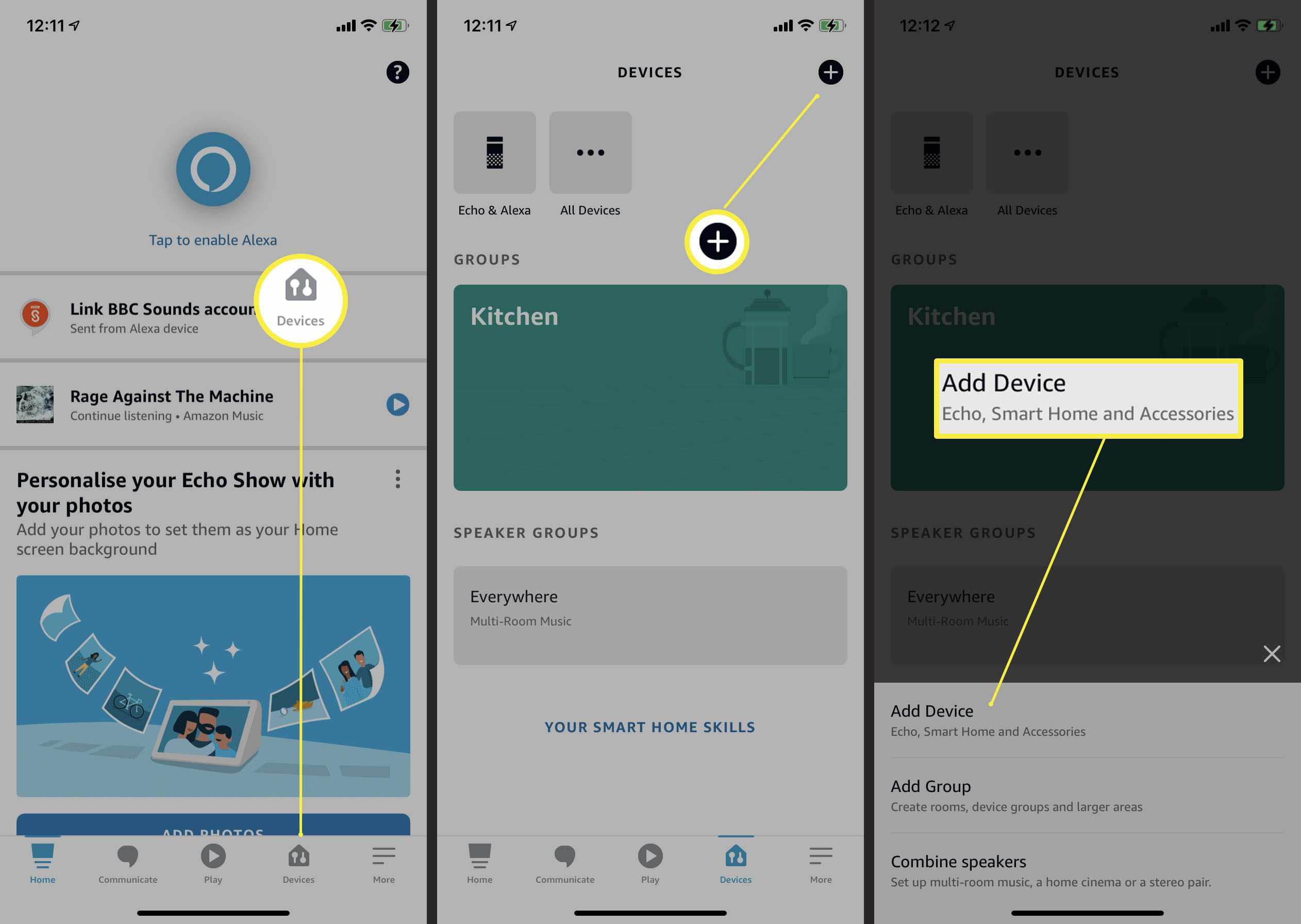 Steps needed to add an Amazon device via Alexa app
