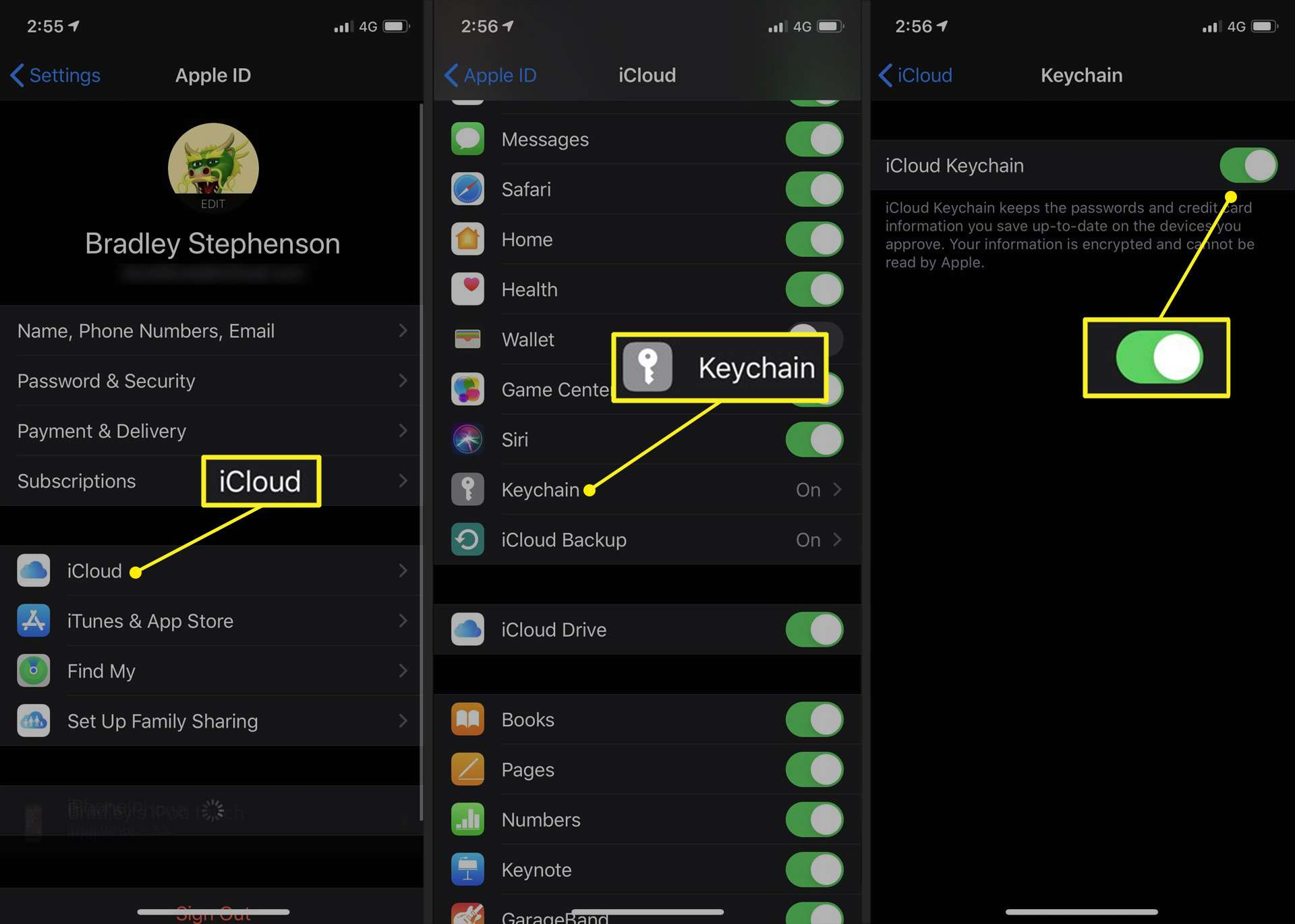 Path to activation slider for iCloud Keychain on iPhone in iOS