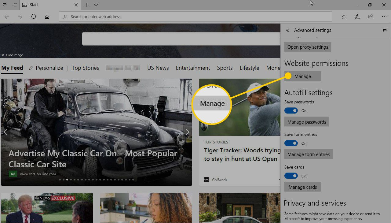 Manage button in Edge preferences