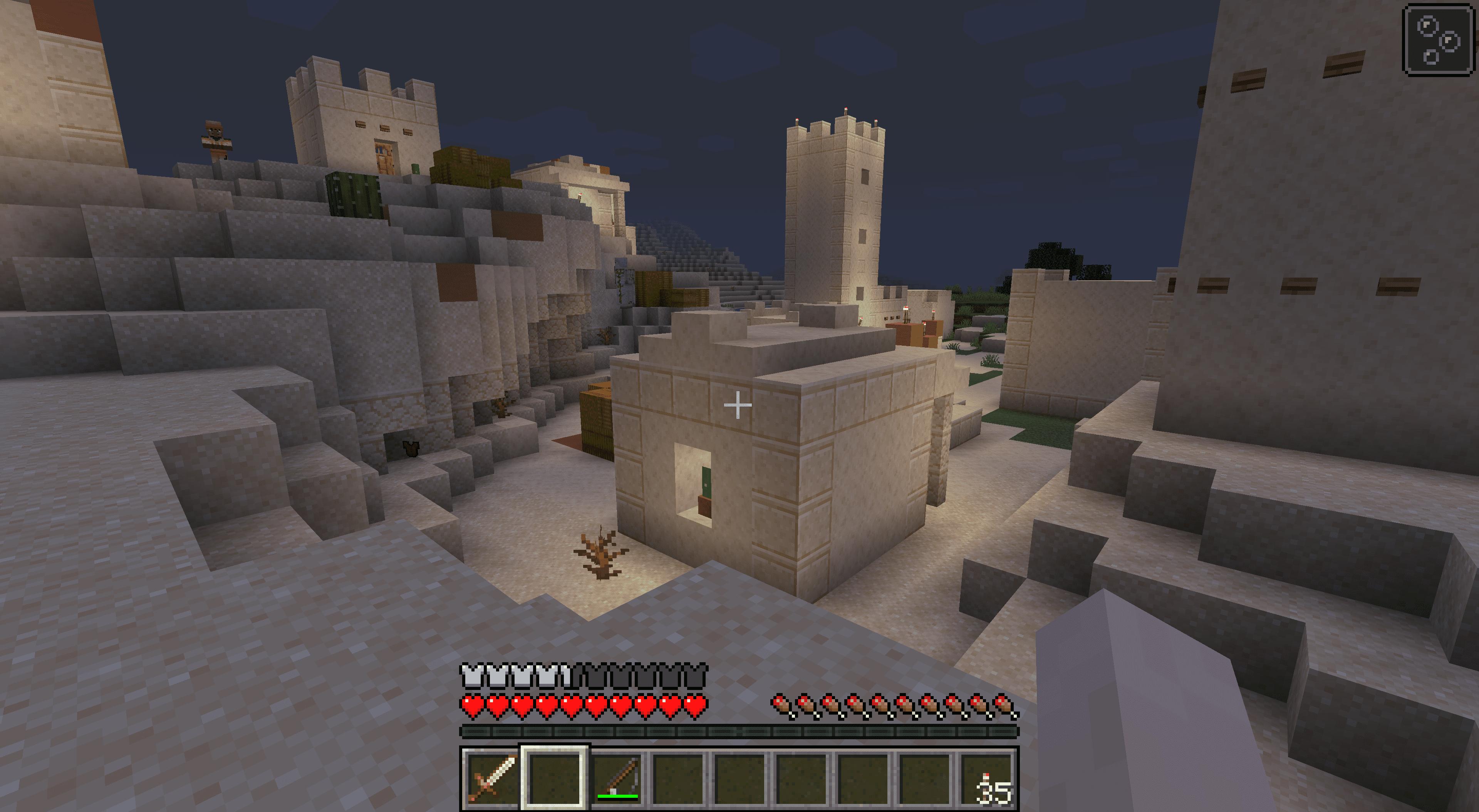 A desert village in Minecraft.