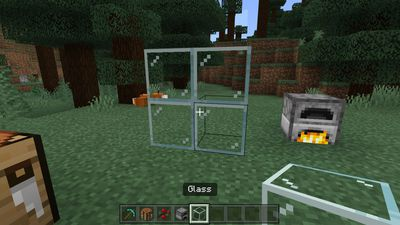 Glass blocks stacked atop one another in Minecraft