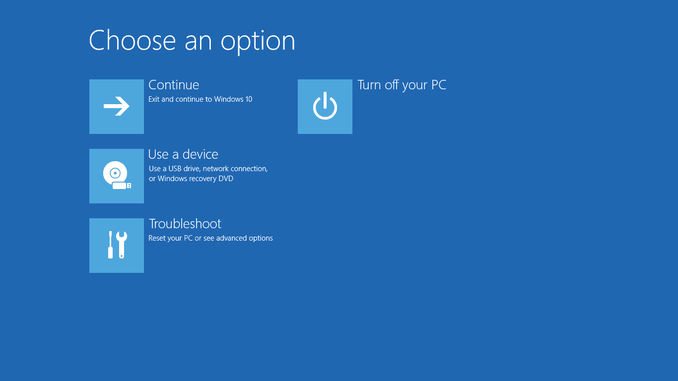 Advanced Startup Options menu in Windows 10