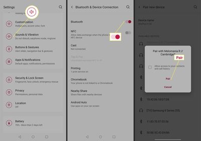 Process for pairing Bluetooth headphones with the OnePlus 9