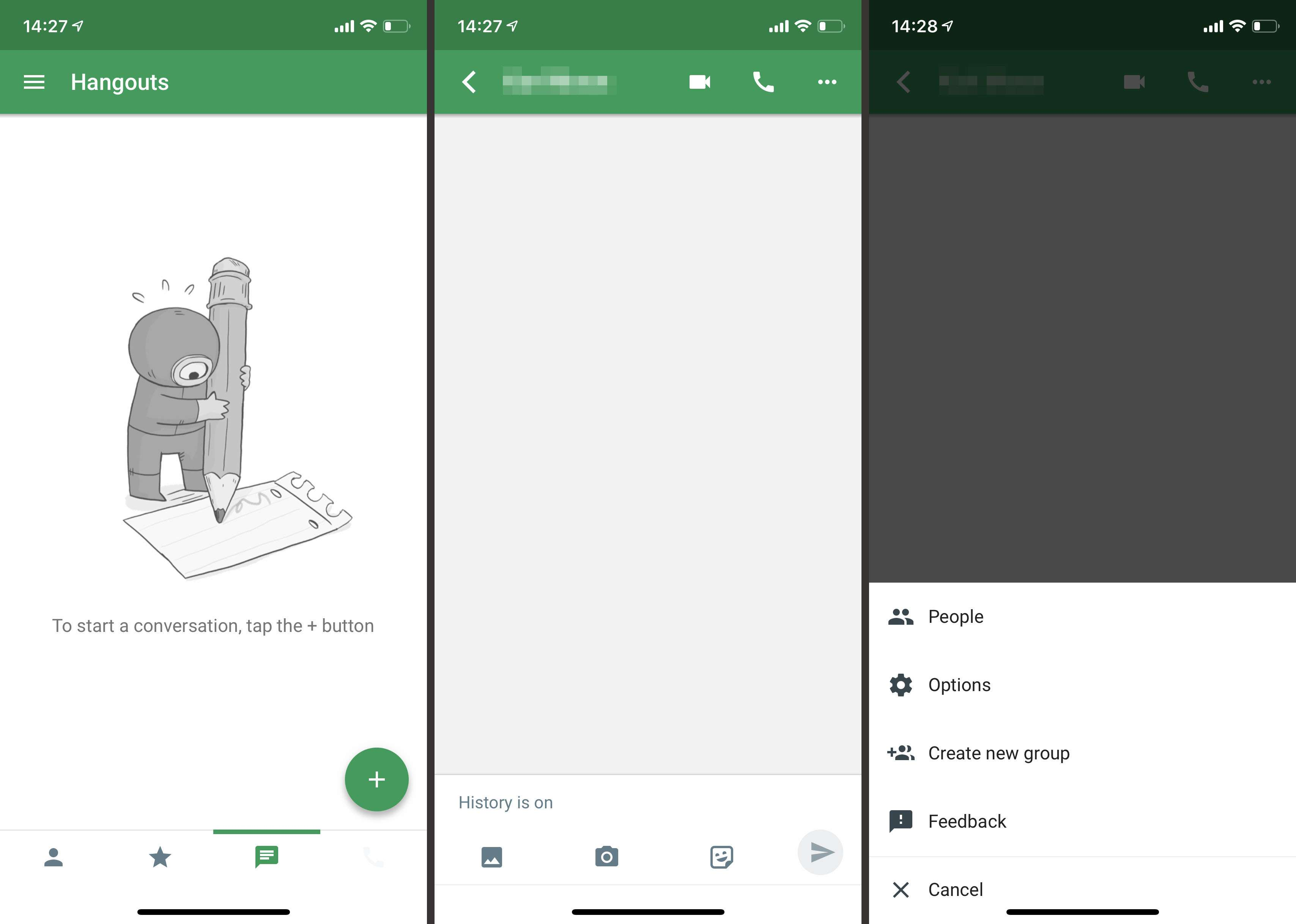 Google Hangouts app on iOS