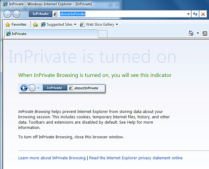 Screenshot of inprivate browsing for internet explorer 8