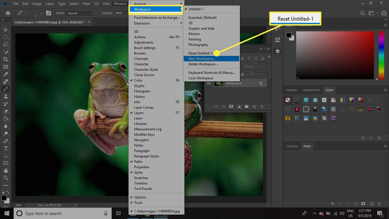 A screenshot of Photoshop with the Reset Workspace command highlighted