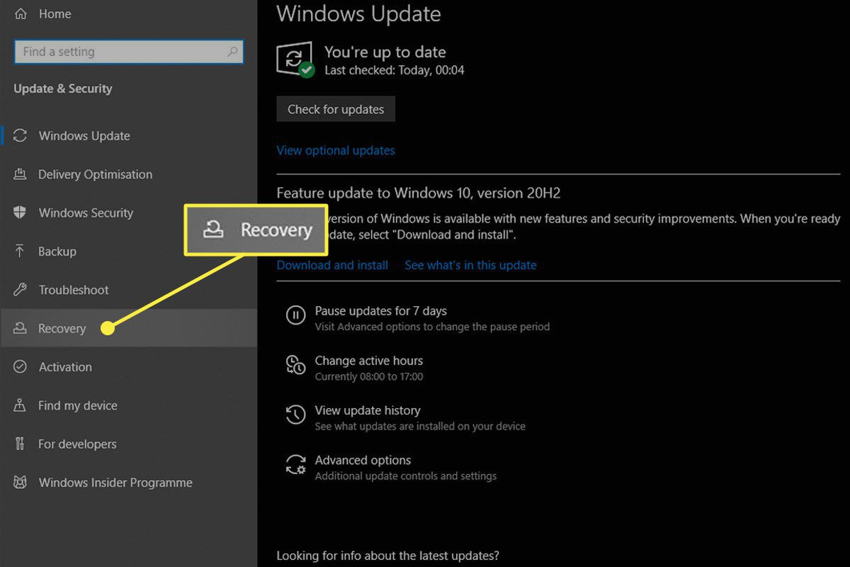 The Recovery preference pane in Update & Security on Windows 10.