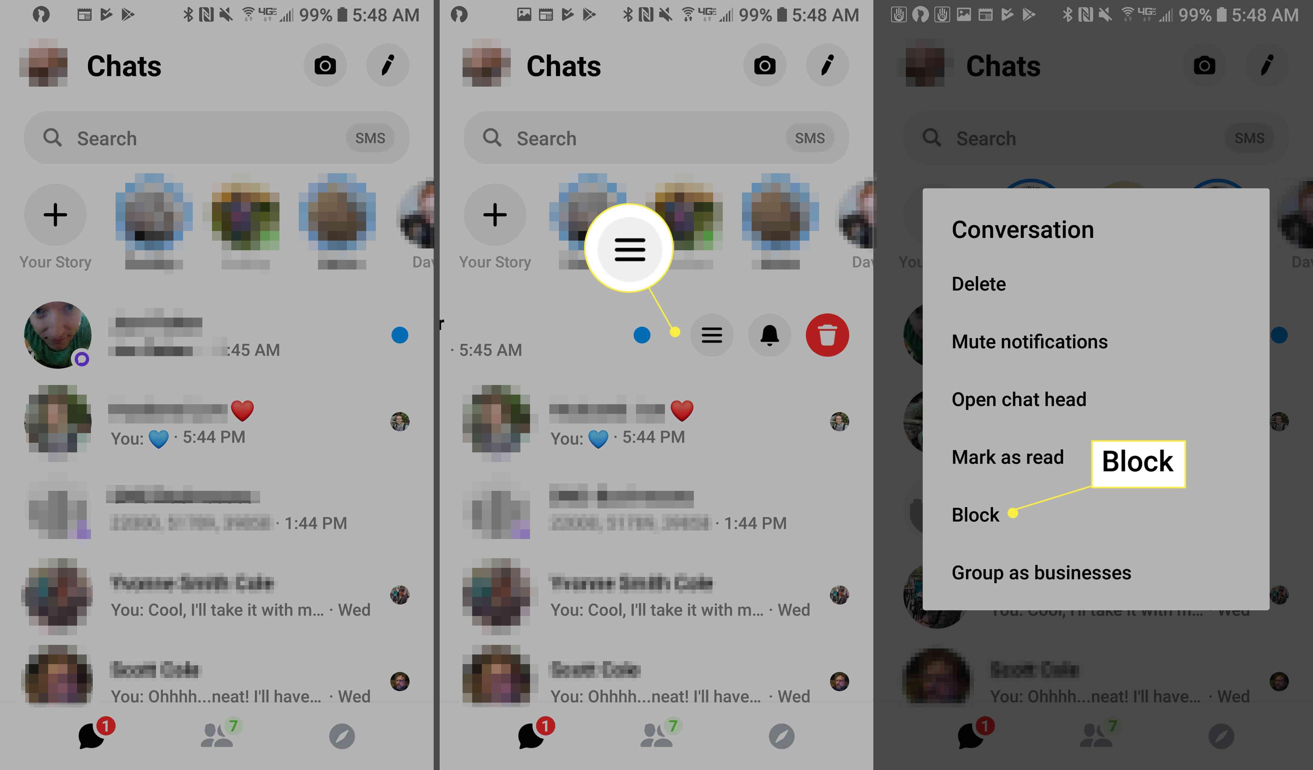 Blocking contact on Messenger