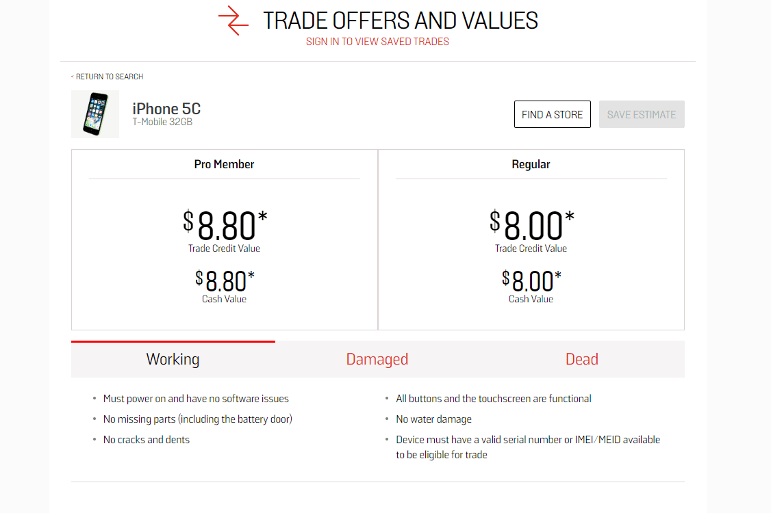 GameStop trade offers and values page for an iPhone 5C