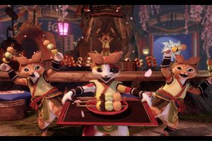 Monster Hunter Rise palico cats serving food
