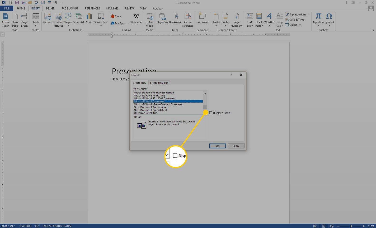 Create New Object window in Word with the Display as icon box highlighted