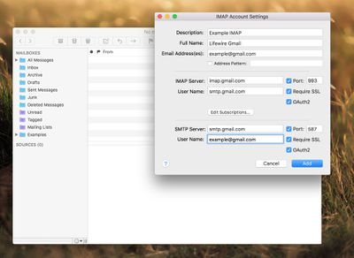 The Gmail IMAP settings in a mail client on Mac