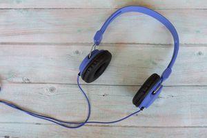 Blue headphones on a table