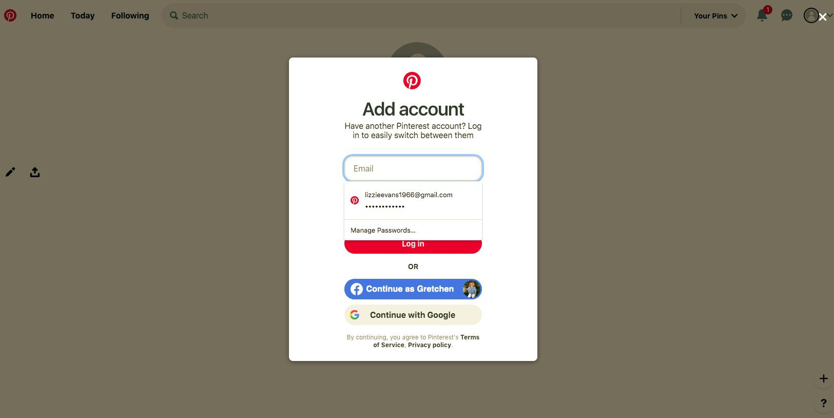 Select Add another account to create a new Pinterest account