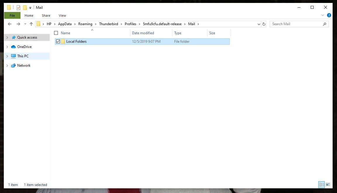 Screenshot of Local Folders