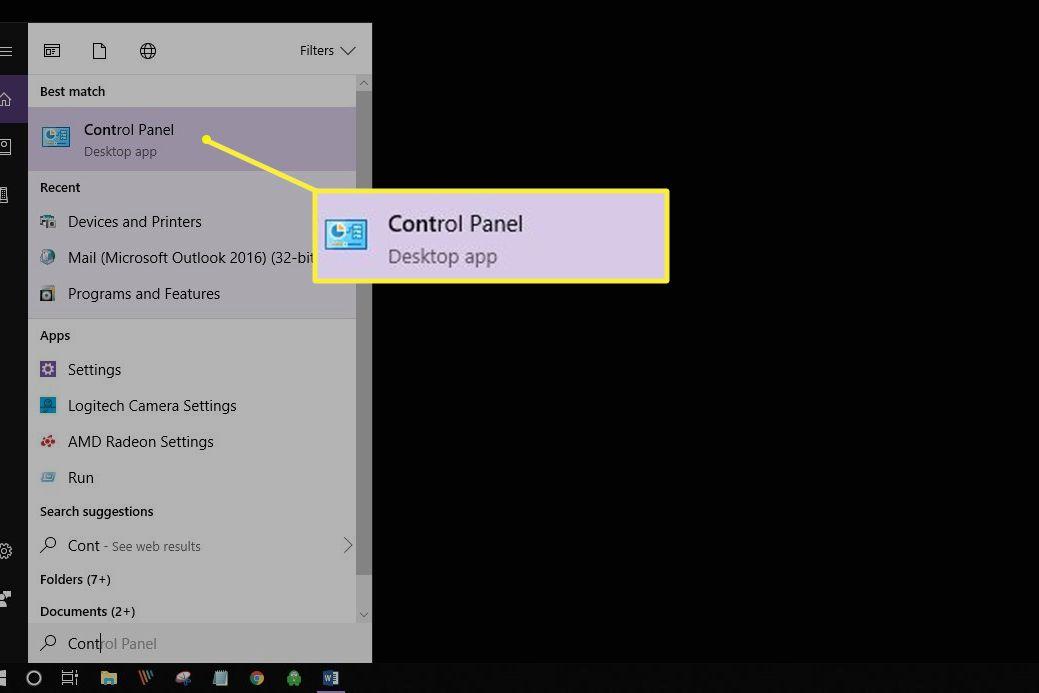 Windows control panel in search menu