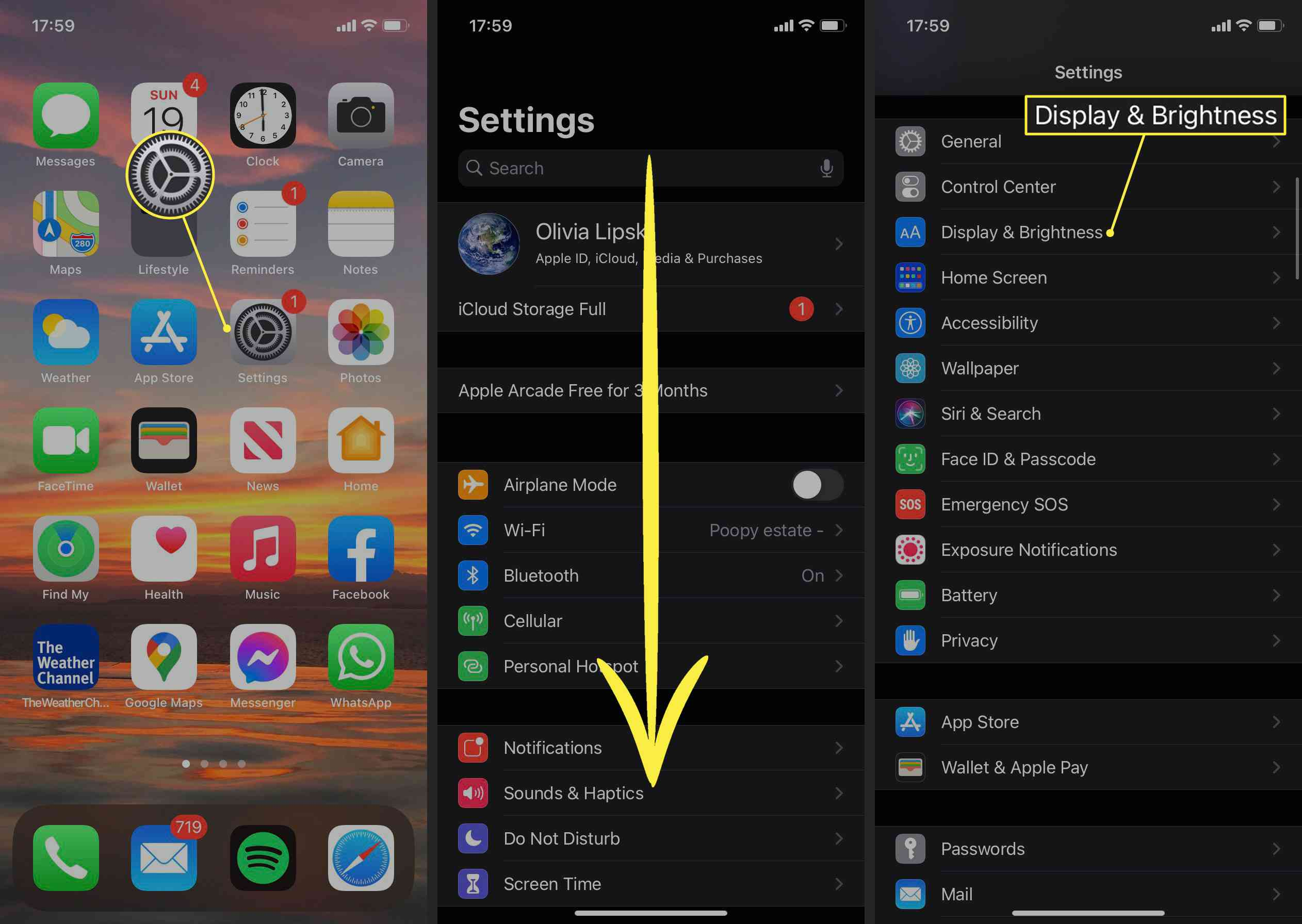 iPhone Settings app, down arrow, and Display and Brightness highlighted on iOS