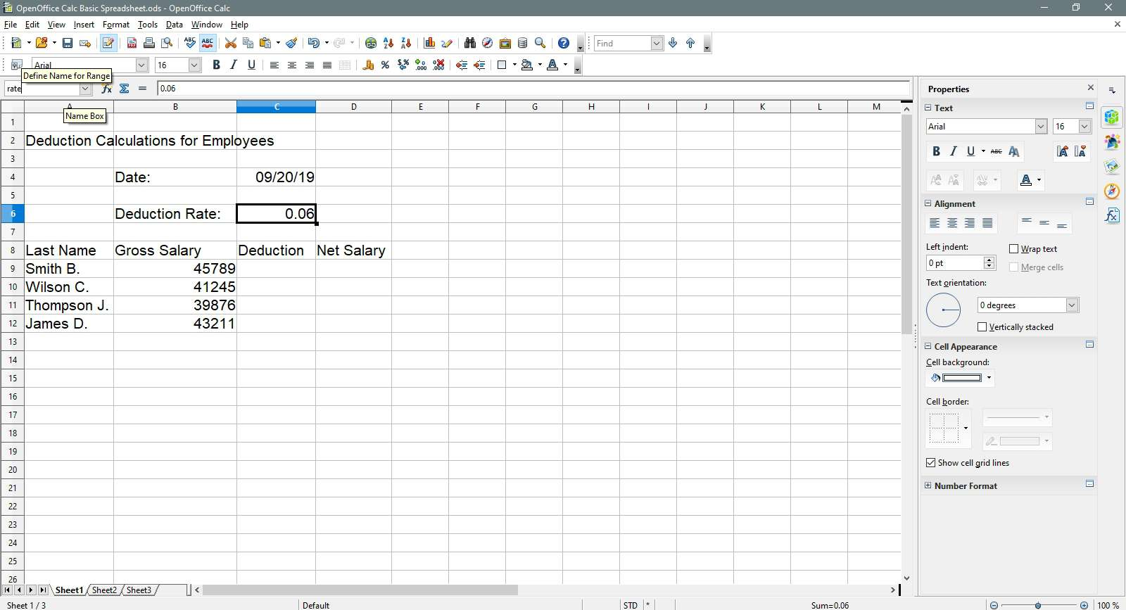 Entering rate in the Name box in OpenOffice Calc.