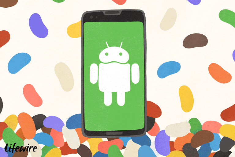 Android phone above a jellybean background