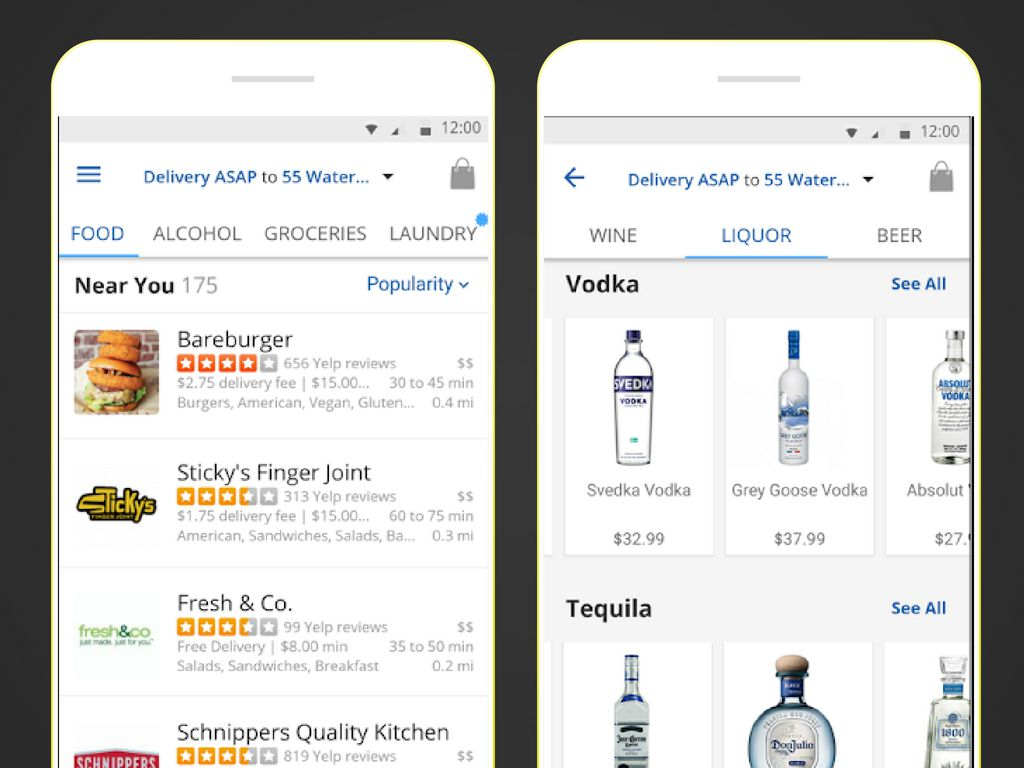 Two screenshots of the Delivery.com app on a smartphone.
