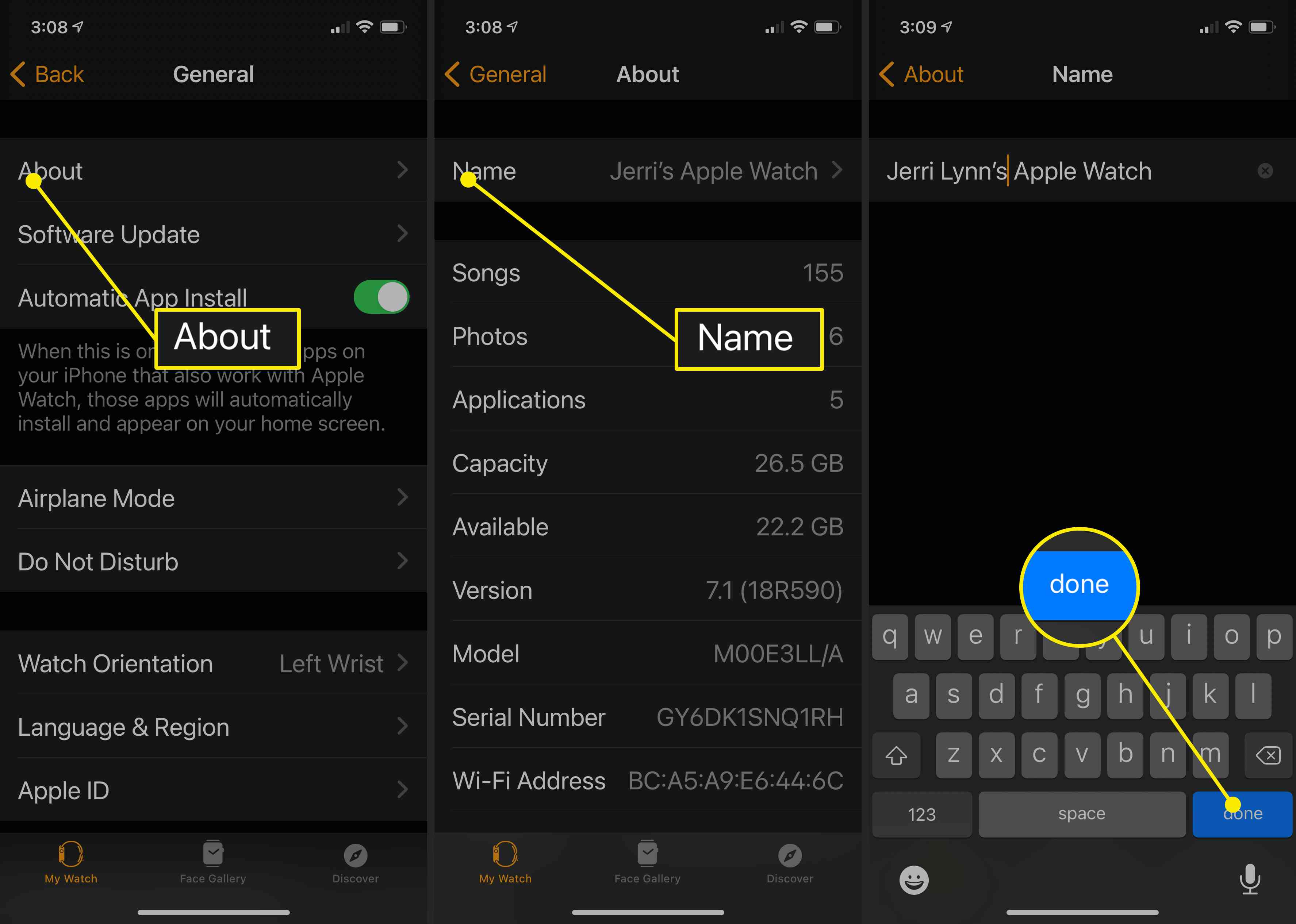 Screenshots showing where and how to change the name of an Apple Watch using the Apple Watch app on iPhone.