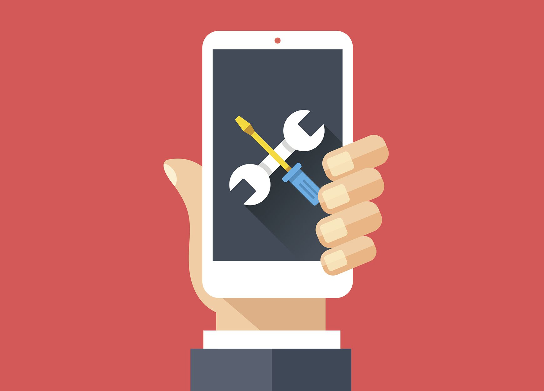 Illustration of tools on a mobile phone screen in a person's hand