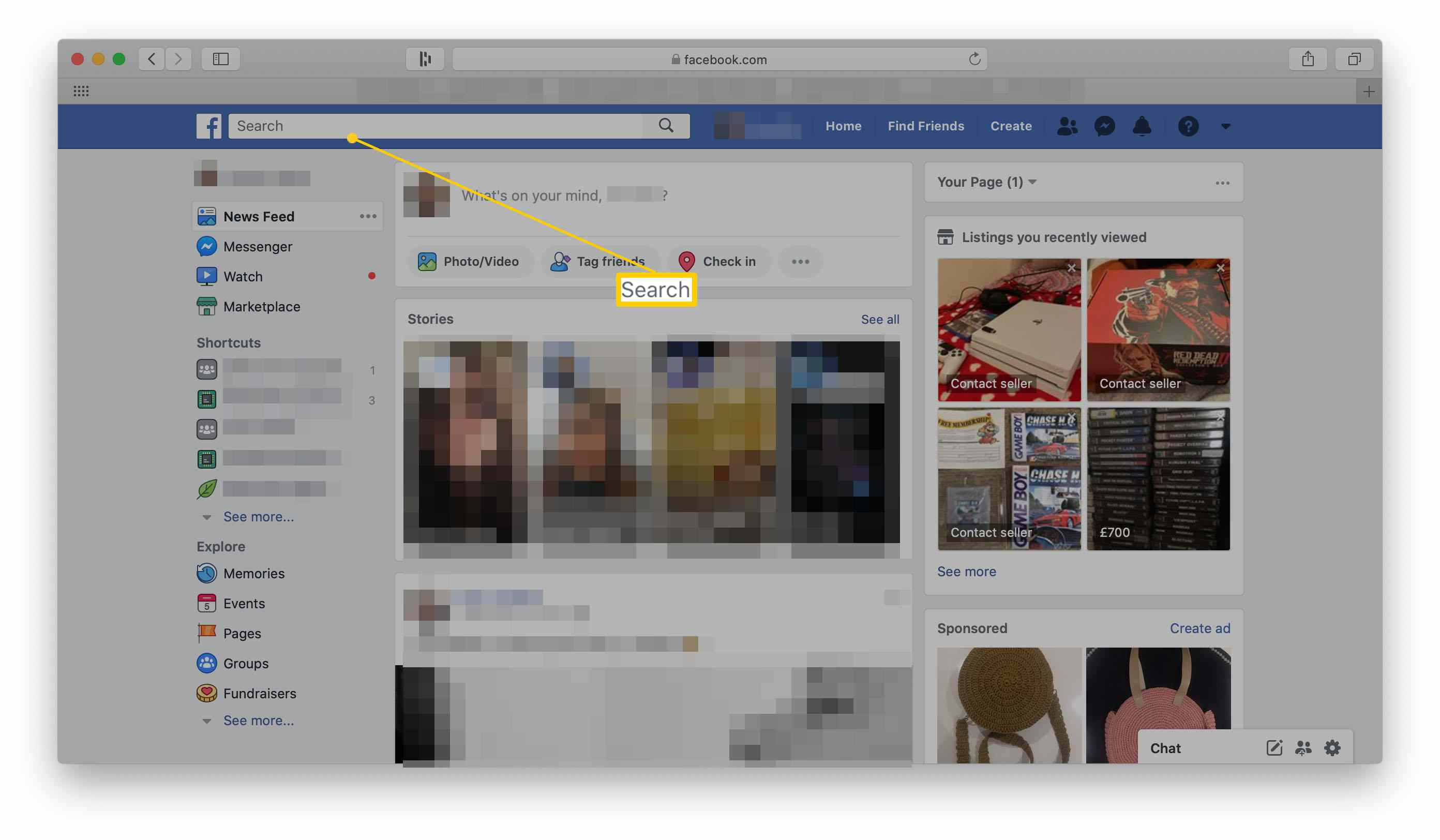Facebook homepage with the search bar highlighted