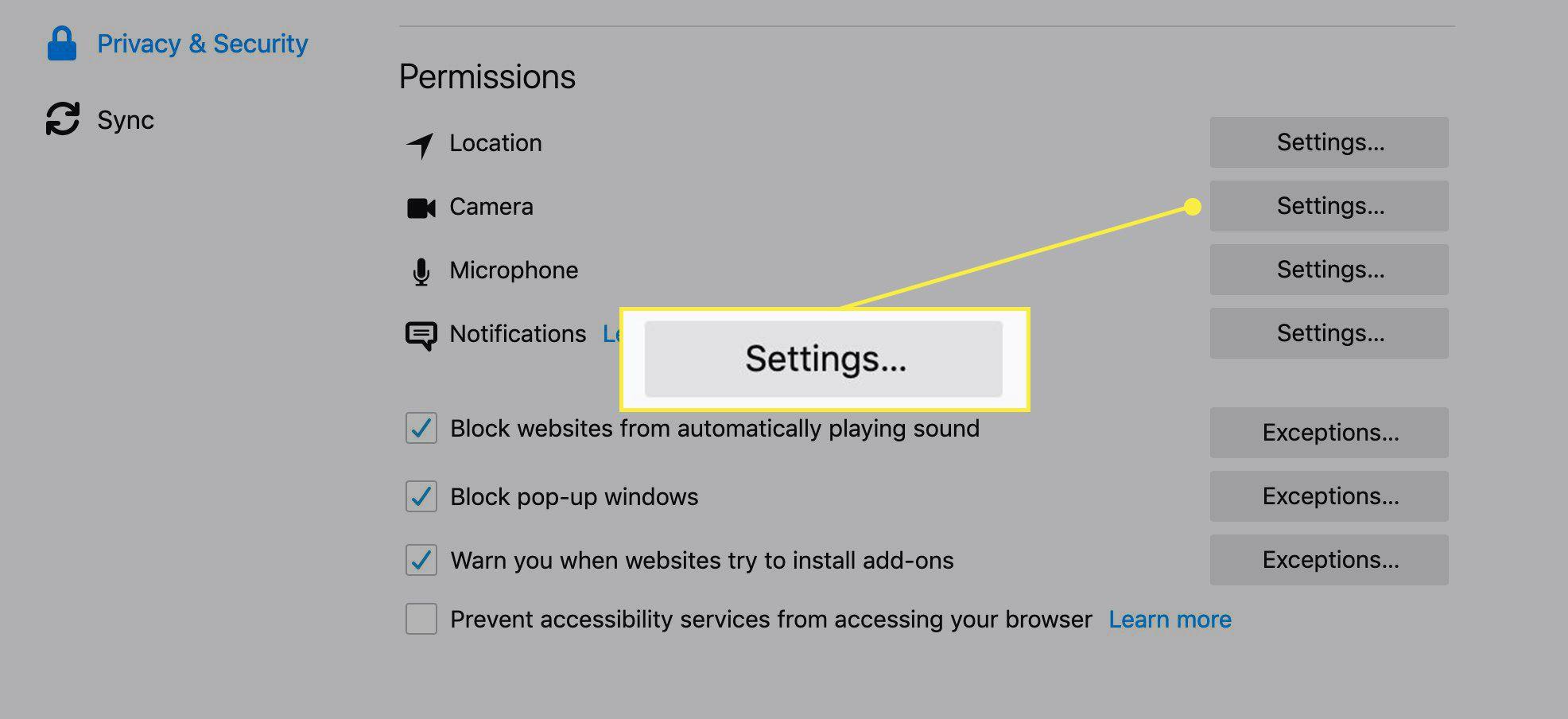 Camera settings in Firefox