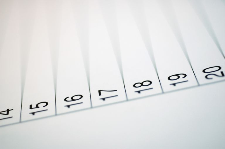 Close-up of numbers on paper.