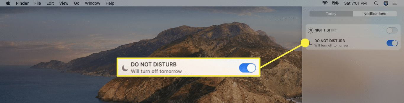 The Do No Disturb option in the Notifications Center on Mac.