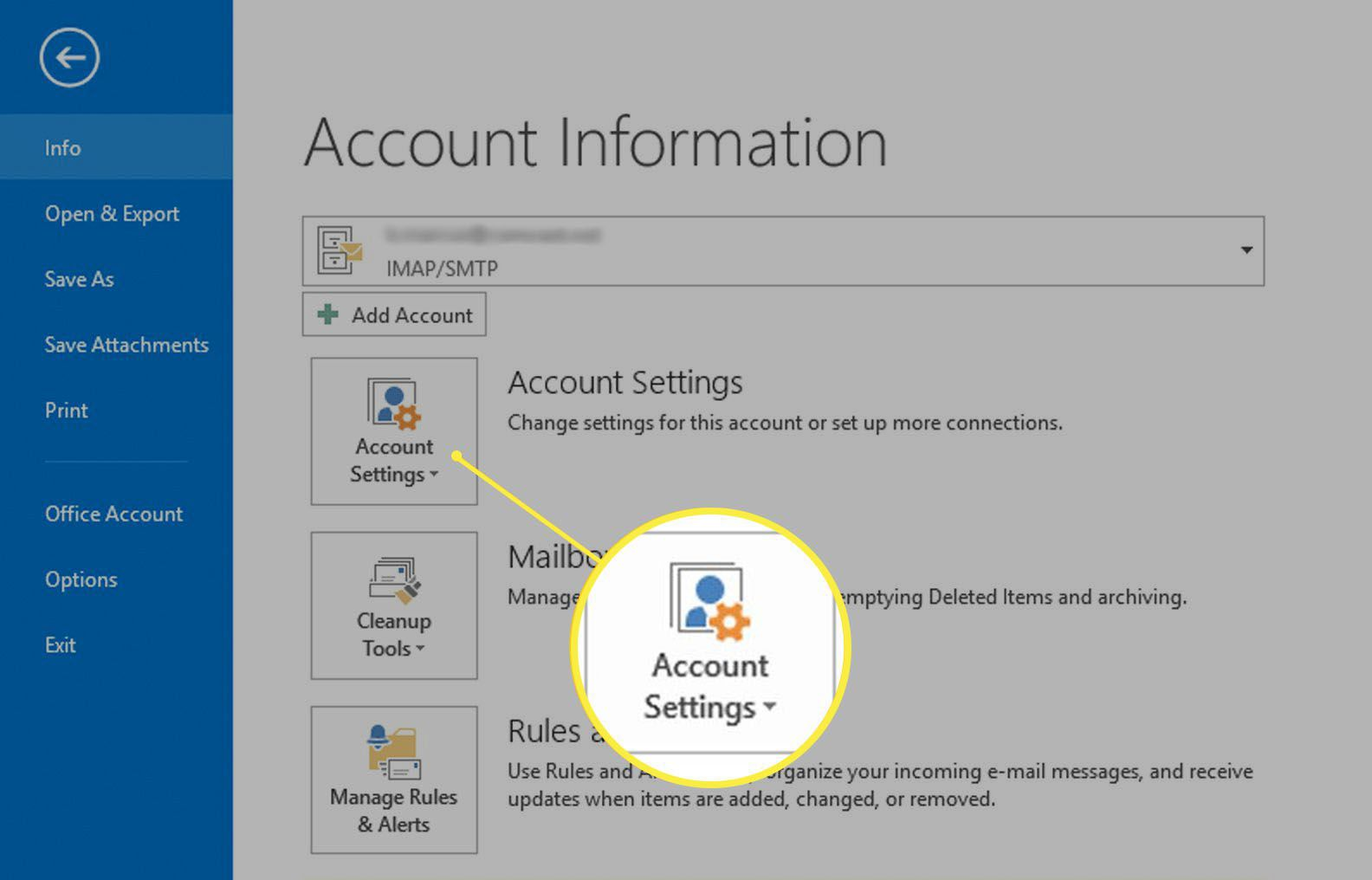 Account Settings in Outlook.