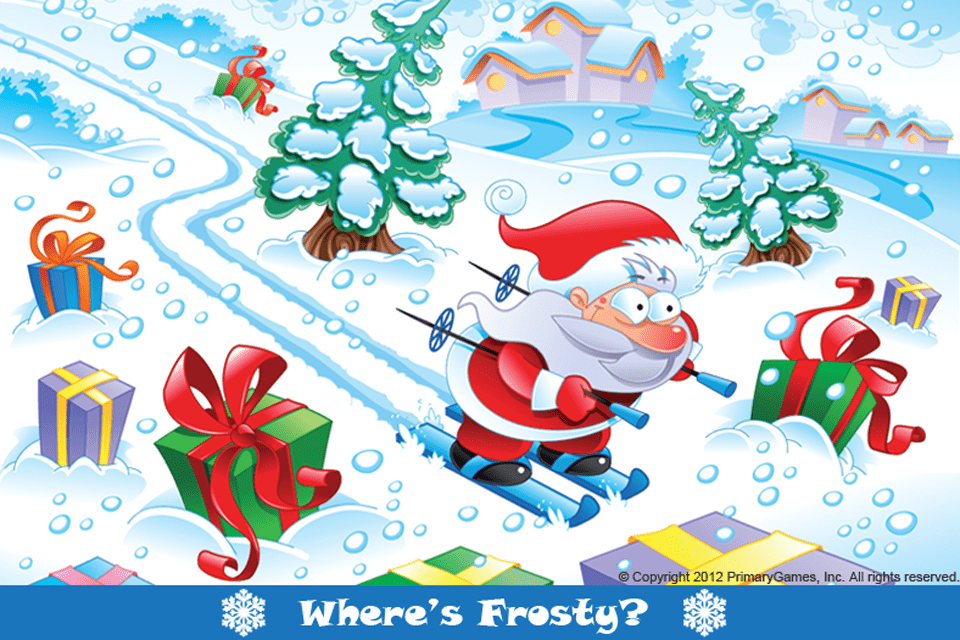Screenshot of the Where's Frosty? free online Christmas game
