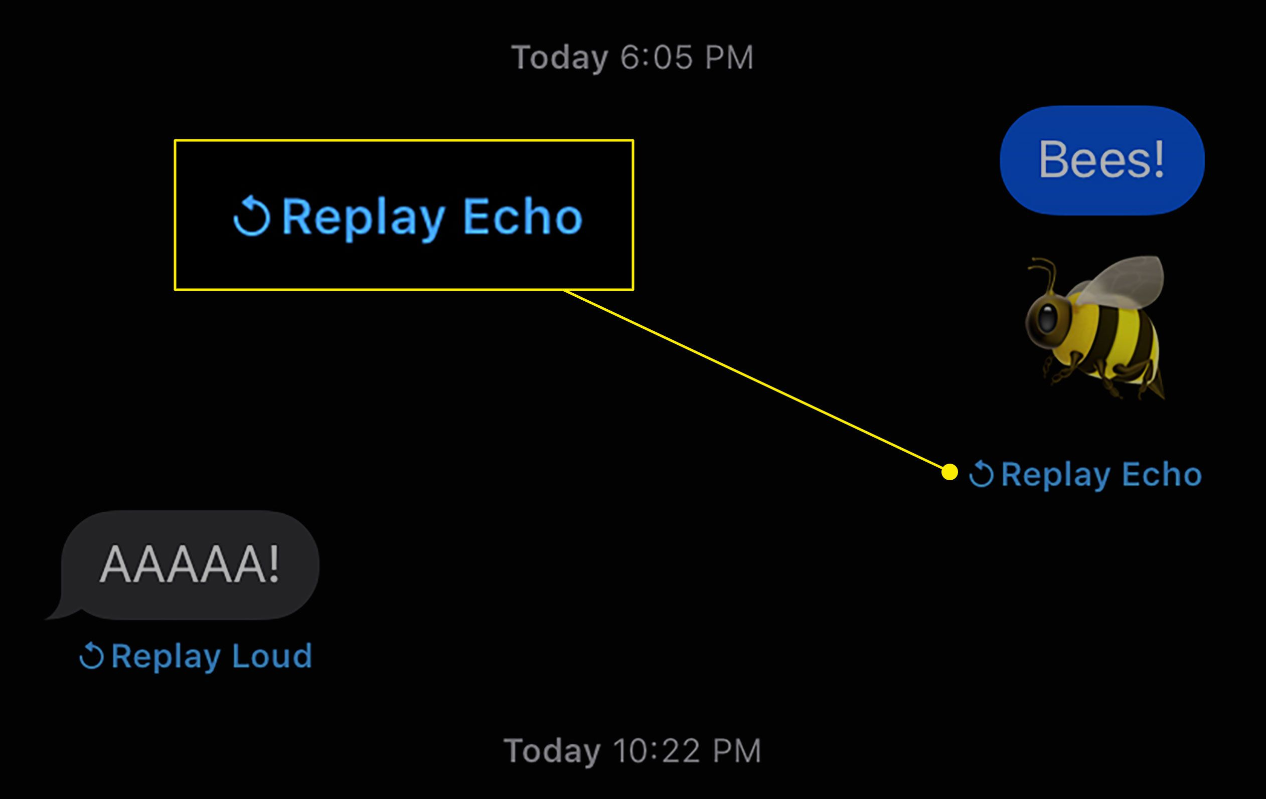 The Replay Effect button in Messages