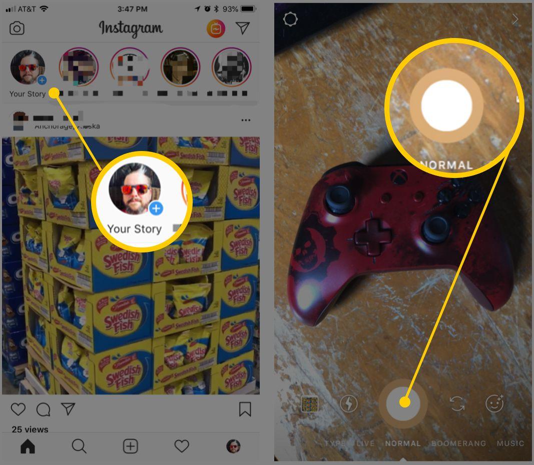 Screenshots of Instagram Story uploading interface