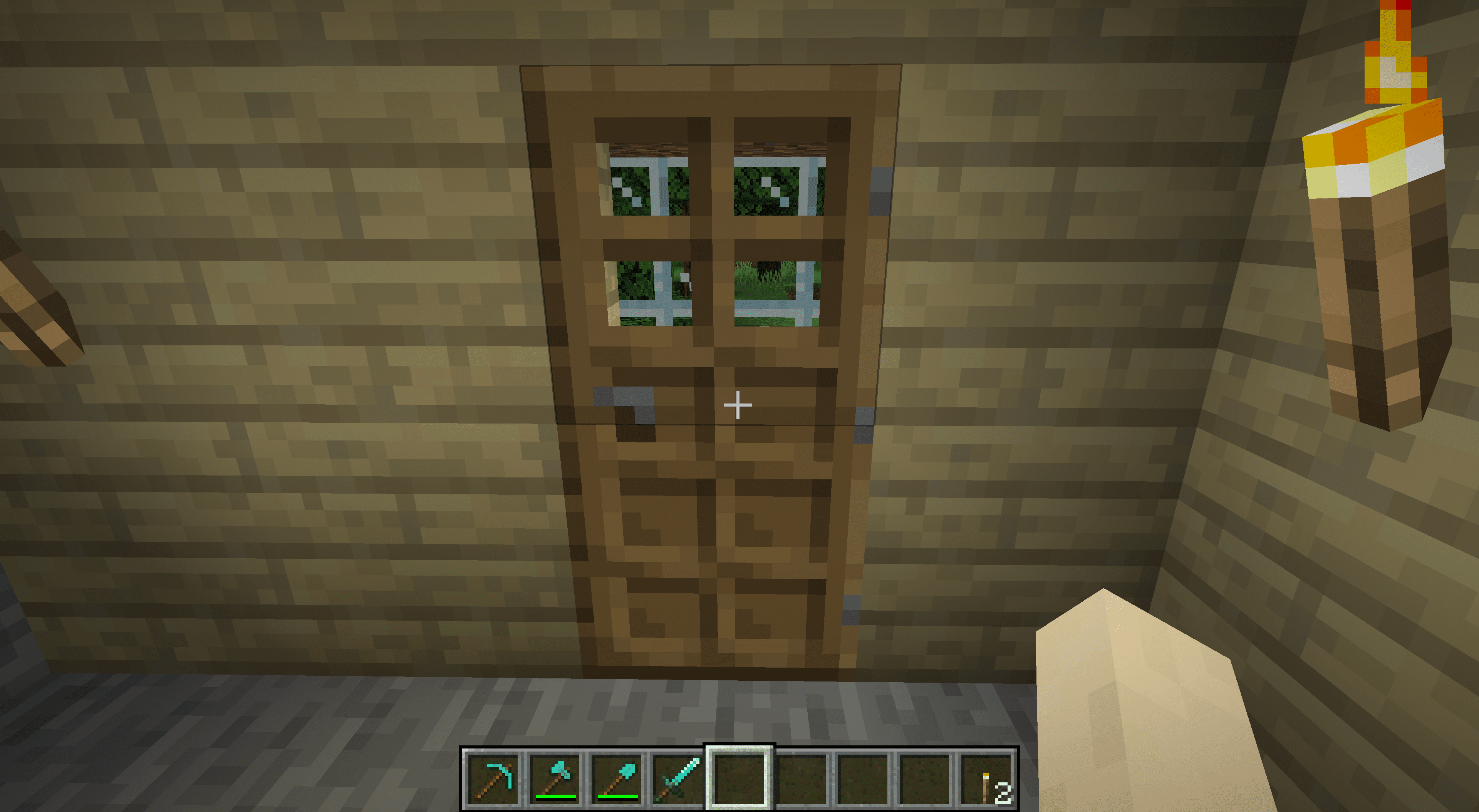 A door leading to a mine in Minecraft.