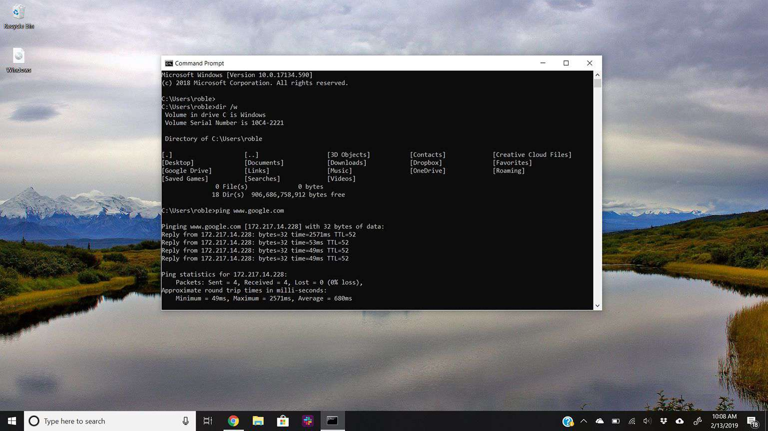 Command Prompt on Windows 10 Desktop