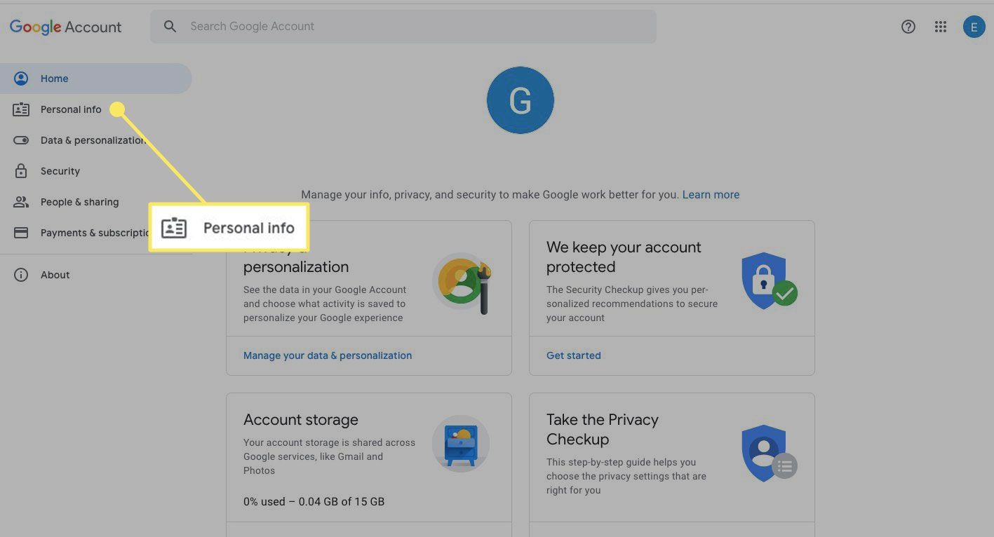 The Personal Info header in a Google Account