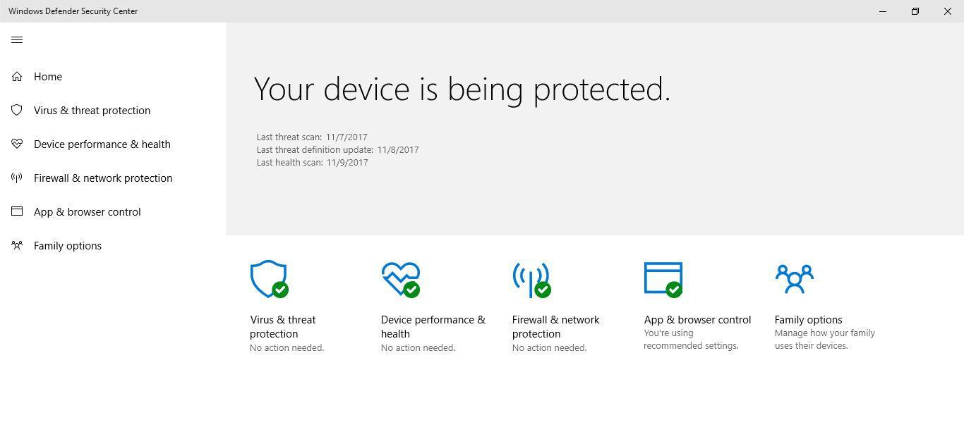 Windows Defender enabled