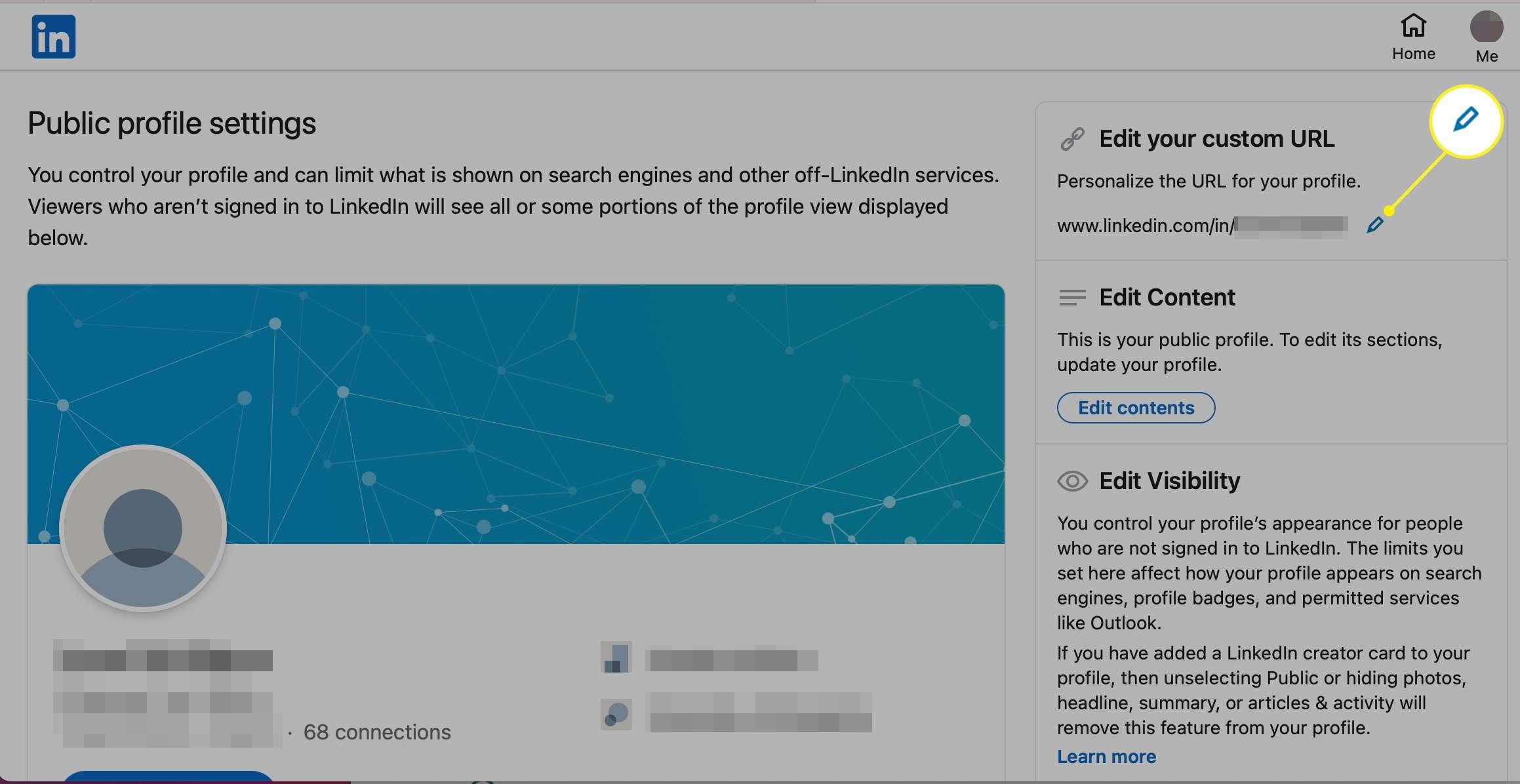 Edit your custom URL field in LinkedIn