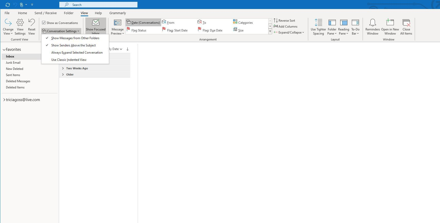 View > Conversation Settings in Outlook.