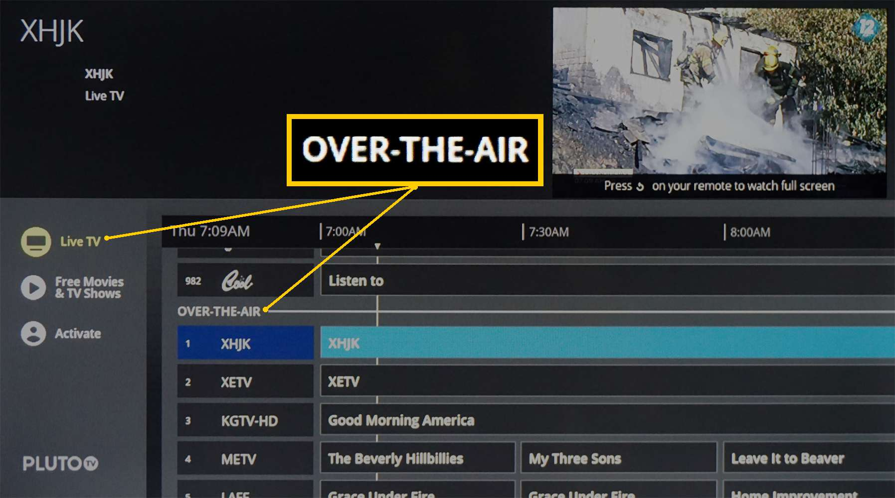 Pluto TV – Over-The-Air TV Listing