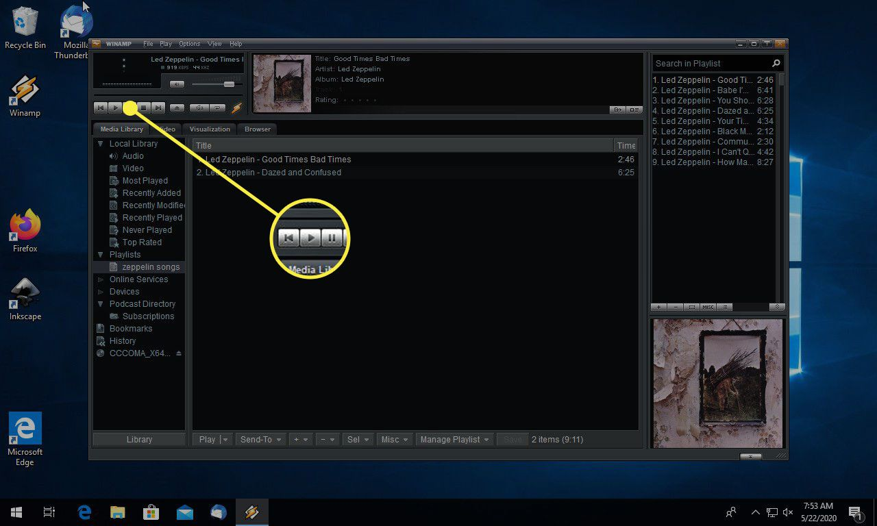 The Play button in Winamp
