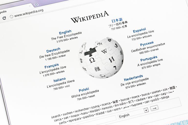Start web page of Wikipedia
