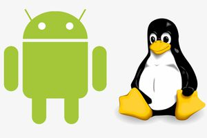 The Android logo and the Linux penguin logo.