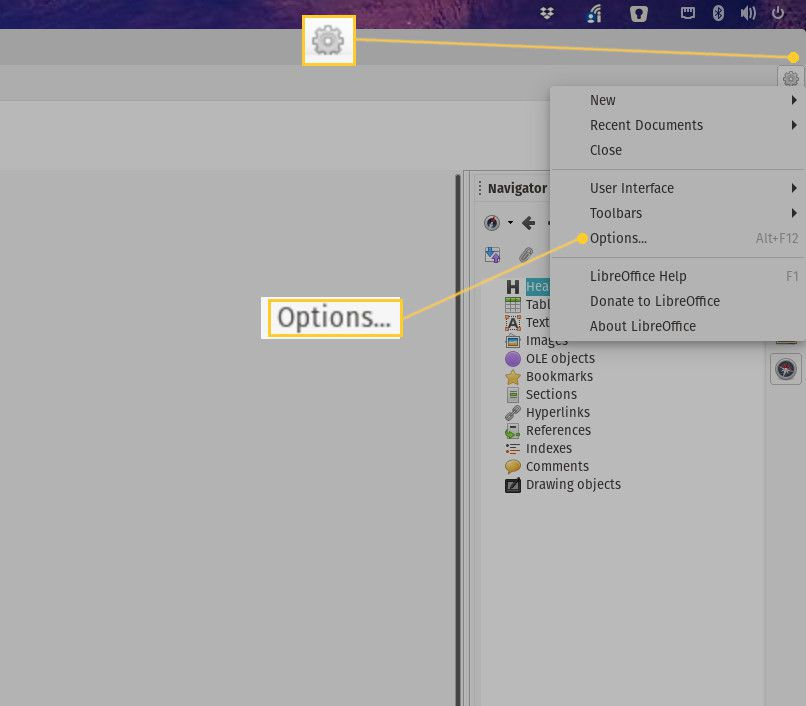 Screnshot of opening the LibreOffice Options window.
