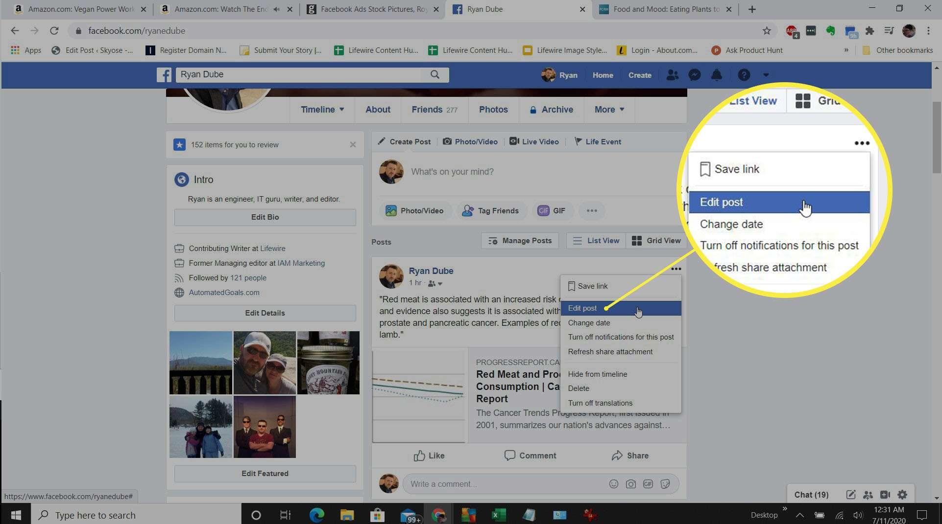 Screenshot of editing a post on Facebook.